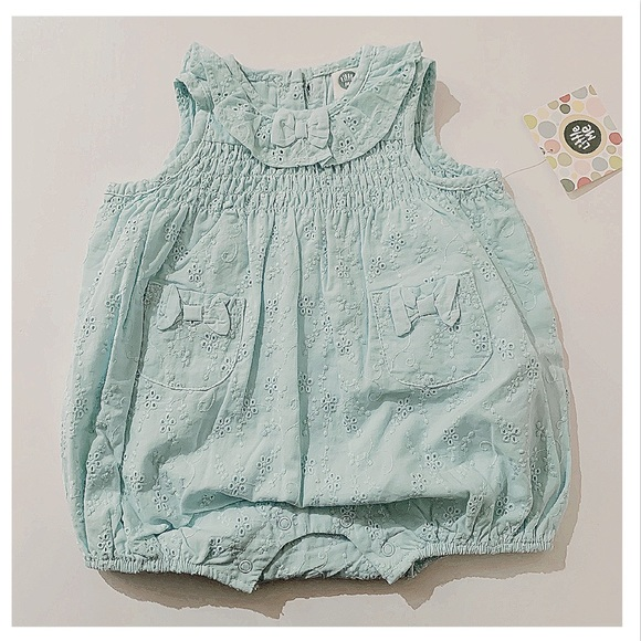 Little Me Other - LITTLE ME Eyelet Aqua Sunsuit 3 months NWT
